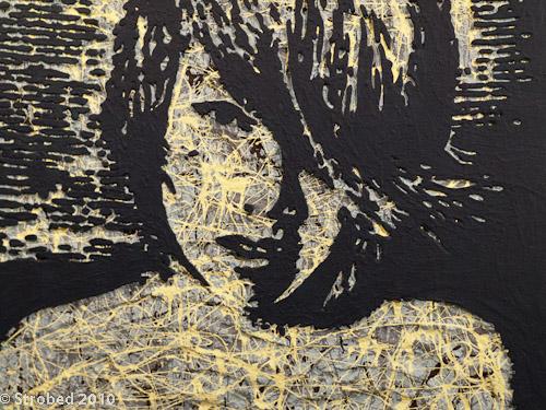 Young Asian Boy - Justin Feuerring, acrylic & sand on polyurethane